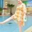 ชุดว่ายน้ำคนอ้วน พร้อมส่ง :ชุดว่ายน้ำไซส์ใหญ่สีขาวแต่งลายดอกไม้สีเหลือง set 3ชิ้นมี บรา กางเกงขาสั้น และเสื้อคลุมเว้าไหล่แบบเก๋ น่ารักมากๆจ้า:รายละเอียดไซส์คลิกเลยจ้า thumbnail 3
