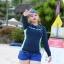 ชุดว่ายน้ำคนอ้วน แบบสปอร์ตพร้อมส่ง :ชุดว่ายน้ำไซส์ใหญ่สีน้ำเงินกรมแขนยาวแต่งลายอักษร set 4 ชิ้น มีเสื้อแขนยาว บรา บิกินี่ กางเกงขาสั้น แบบสวยน่ารักมากๆจ้า:รายละะเอียดไซส์คลิกเลยจ้า thumbnail 6