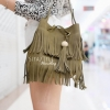 กระเป๋าสะพายแฟชั่น กระเป๋าสะพายข้างผู้หญิง พู่หนังกลับ [สีเขียว]