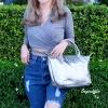 กระเป๋าสะพายแฟชั่น กระเป๋าสะพายข้างผู้หญิง ลองชอมหนัง Style [สีเงิน]