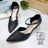 พร้อมส่ง รองเท้าส้นสูงหัวแหลมสีดำ รัดส้น working women แฟชั่นเกาหลี [สีดำ ]
