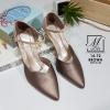 พร้อมส่ง รองเท้าส้นสูงหัวแหลมสีน้ำตาล รัดส้น working women แฟชั่นเกาหลี [สีน้ำตาล ]