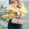 กระเป๋าสะพายแฟชั่น กระเป๋าสะพายข้างผู้หญิง Birkin PU 25 cm [สีดำ]