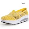 พร้อมส่ง รองเท้าผ้าใบลูกไม้สีเหลือง ผ้าลูกไม้โปร่งใส่สบาย เสริมส้น แฟชั่นเกาหลี [สีเหลือง ]