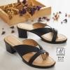 พร้อมส่ง รองเท้าส้นตันสีดำ แบบคีบ เก็บเท้า match ง่ายกับทุกชุด แฟชั่นเกาหลี [สีดำ ]