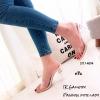 พร้อมส่ง รองเท้าส้นสูงเปิดส้นสีครีม พียูใสนิ่ม ส้นแก้ว แฟชั่นเกาหลี [สีครีม ]