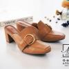 พร้อมส่ง รองเท้าส้นตันสีน้ำตาล ทรงหน้าเรียว style แบรนด์ Gucci แฟชั่นเกาหลี [สีน้ำตาล ]