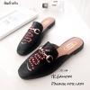 พร้อมส่ง รองเท้าส้นแบนสีดำ ทรงสลิปเปอร์ Style Gucci แฟชั่นเกาหลี [สีดำ ]