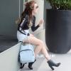 กระเป๋าเป้ผู้หญิง กระเป๋าสะพายหลังแฟชั่น เป้ซิปใหญ่ [สีฟ้า]