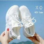 พร้อมส่ง รองเท้าผ้าใบเสริมส้นสีขาว ด้านข้างมี upper ดึงกระชับ แฟชั่นเกาหลี [สีขาว ]