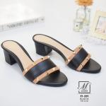 พร้อมส่ง รองเท้าส้นตันเปิดส้นสีดำ style แบรนด์ valentino แฟชั่นเกาหลี [สีดำ ]