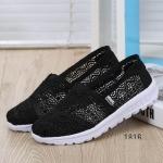 พร้อมส่ง รองเท้าผ้าใบลูกไม้สีดำ พื้นสุขภาพ ผ้าลูกไม้โปร่งใส่สบาย แฟชั่นเกาหลี [สีดำ ]