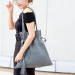 กระเป๋าสะพายแฟชั่น กระเป๋าสะพายข้างผู้หญิง สะพายข้างอัดพีท [สีเทา]
