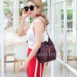 กระเป๋าสะพายแฟชั่น กระเป๋าสะพายข้างผู้หญิง GG ทรงขนมจีบ [สีแดง]