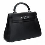 กระเป๋าสะพายข้างหนังแท้ KELLY 25 CM [สีดำ]