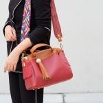 กระเป๋าสะพายแฟชั่น กระเป๋าสะพายข้างผู้หญิง กระเป๋าทรงหมอน [สีแดง]