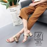 พร้อมส่ง รองเท้าส้นตันเปิดส้นสีครีม สายคาด2ระดับ แต่งเข็มขัดโลหะ แฟชั่นเกาหลี [สีครีม ]
