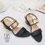 พร้อมส่ง รองเท้าส้นตันรัดส้นสีดำ สายคาดสองระดับ แต่งอะไหล่สีทอง แฟชั่นเกาหลี [สีดำ ] thumbnail 3