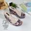 พร้อมส่ง รองเท้าส้นเตารีดลายดอกไม้สีเทา สไตล์วินเทจ สายคาดพลาสติกใส แฟชั่นเกาหลี [สีเทา ] thumbnail 1