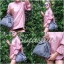 กระเป๋าสะพายแฟชั่น กระเป๋าสะพายข้างผู้หญิง อัดพีทห่วง [สีเทา] thumbnail 4