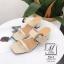 พร้อมส่ง รองเท้าส้นตันเปิดส้นสีครีม สายคาด2ระดับ แต่งเข็มขัดโลหะ แฟชั่นเกาหลี [สีครีม ] thumbnail 2