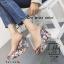 พร้อมส่ง รองเท้าส้นเตารีดลายดอกไม้สีเทา สไตล์วินเทจ สายคาดพลาสติกใส แฟชั่นเกาหลี [สีเทา ] thumbnail 5