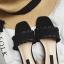 พร้อมส่ง รองเท้าส้นตันสีดำ เปิดส้น พื้นยางลายไม้ แฟชั่นเกาหลี [สีดำ ] thumbnail 5