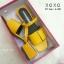 พร้อมส่ง รองเท้าส้นเตี้ยรัดส้นสีเหลือง วัสดุพียู ส้นไม้ แฟชั่นเกาหลี [สีเหลือง ] thumbnail 4