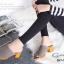 พร้อมส่ง รองเท้าส้นตันเปิดส้นสีเทา ผ้ายีนส์แต่งชายลุ่ย แฟชั่นเกาหลี [สีเทา ] thumbnail 4