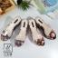 พร้อมส่ง รองเท้าส้นเตารีดลายดอกไม้สีดำ สไตล์วินเทจ สายคาดพลาสติกใส แฟชั่นเกาหลี [สีดำ ] thumbnail 3