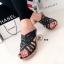 พร้อมส่ง รองเท้าส้นเตารีดเปิดส้นสีดำ หนังสาน แบบสวม แฟชั่นเกาหลี [สีดำ ] thumbnail 1
