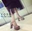 พร้อมส่ง รองเท้าส้นตันรัดส้นสีแอปริคอท ผ้าสักหราด แมทส์กับชุดได้ง่าย แฟชั่นเกาหลี [สีแอปริคอท ] thumbnail 3