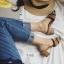 พร้อมส่ง รองเท้าส้นตันสีน้ำตาล เปิดส้น พื้นยางลายไม้ แฟชั่นเกาหลี [สีน้ำตาล ] thumbnail 4