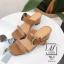 พร้อมส่ง รองเท้าส้นตันเปิดส้นสีน้ำตาล สายคาด2ระดับ แต่งเข็มขัดโลหะ แฟชั่นเกาหลี [สีน้ำตาล ] thumbnail 2