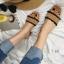 พร้อมส่ง รองเท้าส้นตันสีน้ำตาล เปิดส้น พื้นยางลายไม้ แฟชั่นเกาหลี [สีน้ำตาล ] thumbnail 5
