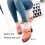 พร้อมส่ง รองเท้าส้นตันเปิดส้นสีน้ำตาล แต่งอะไหล่โลหะเหลี่ยมสีทอง แฟชั่นเกาหลี [สีน้ำตาล ] thumbnail 3