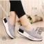 พร้อมส่ง รองเท้าผ้าใบเสริมส้นสีเทา ผ้าแคนวาส พื้นสุขภาพ แฟชั่นเกาหลี [สีเทา ] thumbnail 3