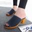 พร้อมส่ง รองเท้าส้นตันเปิดส้นสีน้ำเงิน ผ้ายีนส์แต่งชายลุ่ย แฟชั่นเกาหลี [สีน้ำเงิน ]