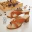 พร้อมส่ง รองเท้าส้นตันสีน้ำตาล แบบคีบ เก็บเท้า match ง่ายกับทุกชุด แฟชั่นเกาหลี [สีน้ำตาล ] thumbnail 3