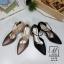 พร้อมส่ง รองเท้าส้นสูงหัวแหลมสีดำ รัดส้น working women แฟชั่นเกาหลี [สีดำ ] thumbnail 4