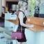 กระเป๋าสะพายแฟชั่น กระเป๋าสะพายข้างผู้หญิง CN คาเวียร์ 10 นิ้ว [สีแดง] thumbnail 3