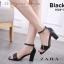 พร้อมส่ง รองเท้าส้นตันรัดส้นสีดำ หน้าแต่งสายเข็มขัด แฟชั่นเกาหลี [สีดำ ] thumbnail 2