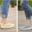 พร้อมส่ง รองเท้าผ้าใบลูกไม้สีเหลือง ผ้าลูกไม้โปร่งใส่สบาย เสริมส้น แฟชั่นเกาหลี [สีเหลือง ] thumbnail 4