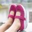 พร้อมส่ง รองเท้าผ้าใบเสริมส้นสีชมพู ผ้าทอตาข่าย สายรัดเมจิกเทป แฟชั่นเกาหลี [สีชมพู ] thumbnail 1