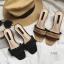 พร้อมส่ง รองเท้าส้นตันสีน้ำตาล เปิดส้น พื้นยางลายไม้ แฟชั่นเกาหลี [สีน้ำตาล ] thumbnail 6