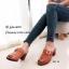 พร้อมส่ง รองเท้าส้นตันเปิดส้นสีน้ำตาล แต่งอะไหล่โลหะเหลี่ยมสีทอง แฟชั่นเกาหลี [สีน้ำตาล ] thumbnail 2