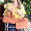 กระเป๋าสะพายแฟชั่น กระเป๋าสะพายข้างผู้หญิง Birkin PU 30 cm [สีส้ม] thumbnail 3