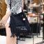 กระเป๋าสะพายแฟชั่น กระเป๋าสะพายข้างผู้หญิง พู่หนังกลับ [สีดำ]