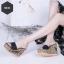 พร้อมส่ง รองเท้าส้นเตารีดเปิดส้น แต่งส้นถักทอลายดอก แฟชั่นเกาหลี [สีดำ ] thumbnail 1