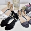 พร้อมส่ง รองเท้าส้นเตี้ยรัดข้อสีขาว มีสายมุกรัดข้อปรับระดับ แฟชั่นเกาหลี [สีขาว ] thumbnail 6